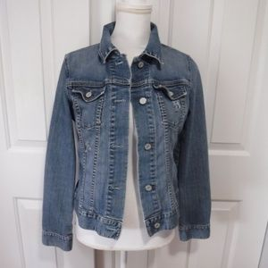 Gap Distressed Jean Jacket Classic Fitted Faded